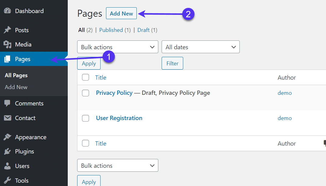 add new page for WordPress Registration Form