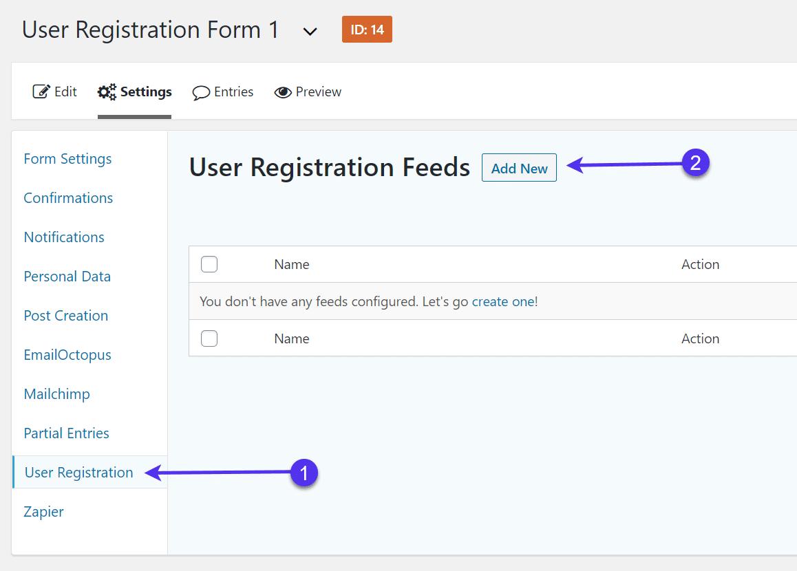 Adicionando um novo feed de registro de usuário