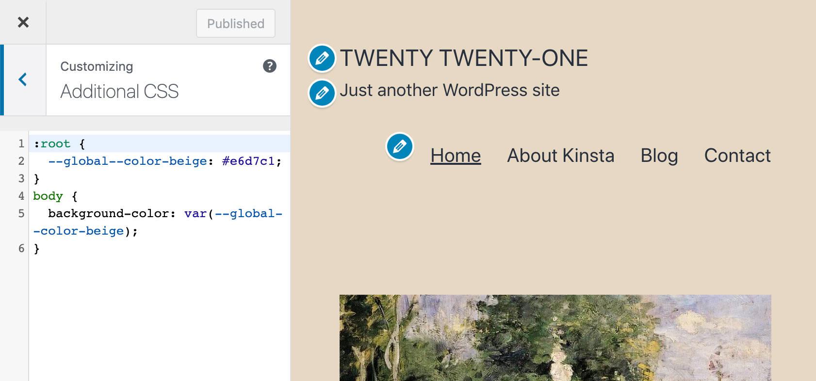 Le CSS personnalisé dans la personnalisation de Twenty Twenty-One