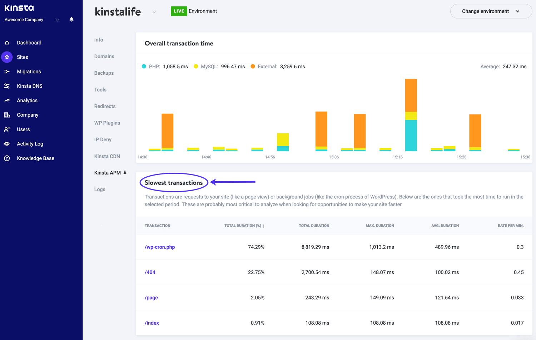Las transacciones más lentas en la herramienta Kinsta APM