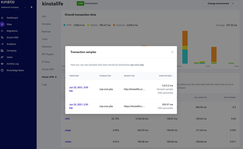 El modal de muestra de transacciones en la herramienta Kinsta APM