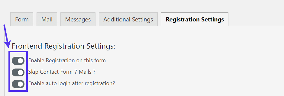 registration settings for WordPress Registration Form