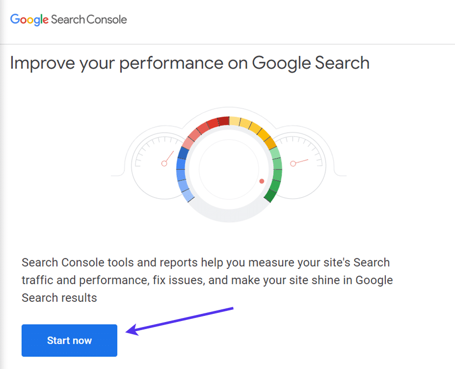 Google Search Console's Start Now button