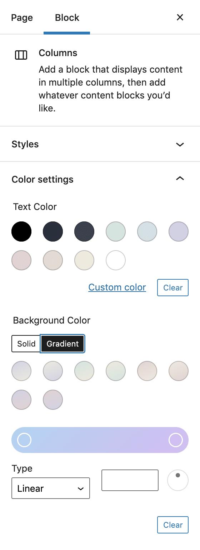 Huit dégradés prédéfinis dans les réglages de couleur d'un bloc