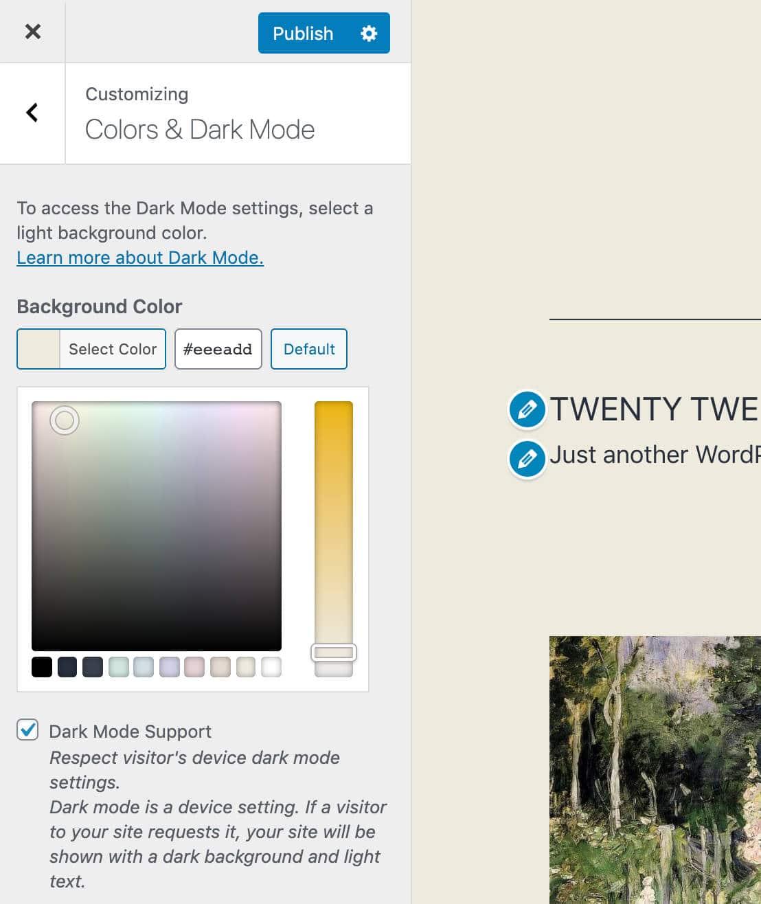 Colores y ajustes del Modo Oscuro