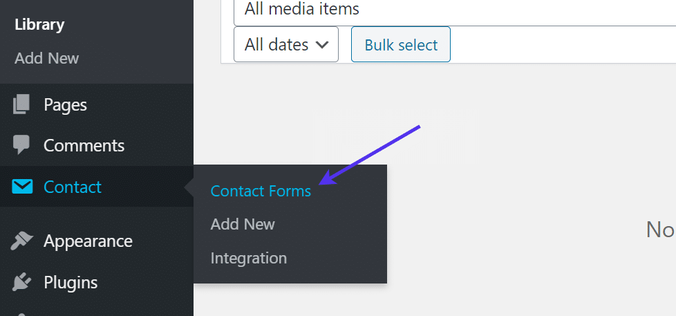 contact forms button
