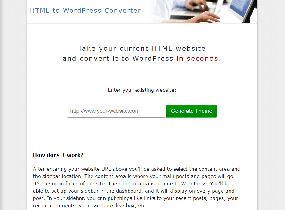 HTML to WordPress converter app
