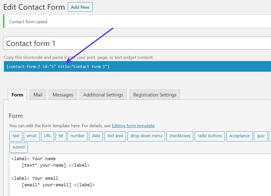 Contact Form 7 atalho