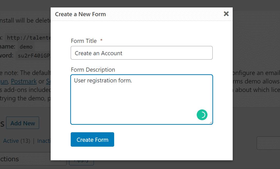 Adicionando título e descrição ao seu formulário