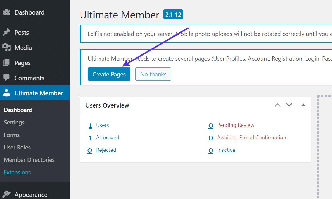 Creazione di pagine in Ultimate Member