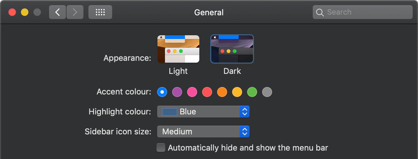 Enabling dark mode in MacOS