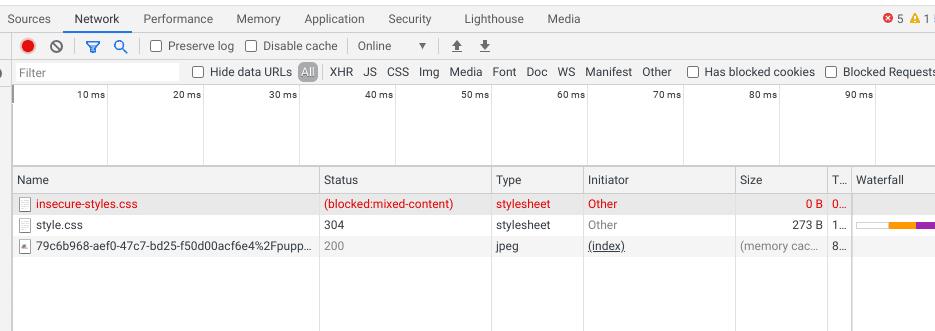 Rede de DevTools Chrome