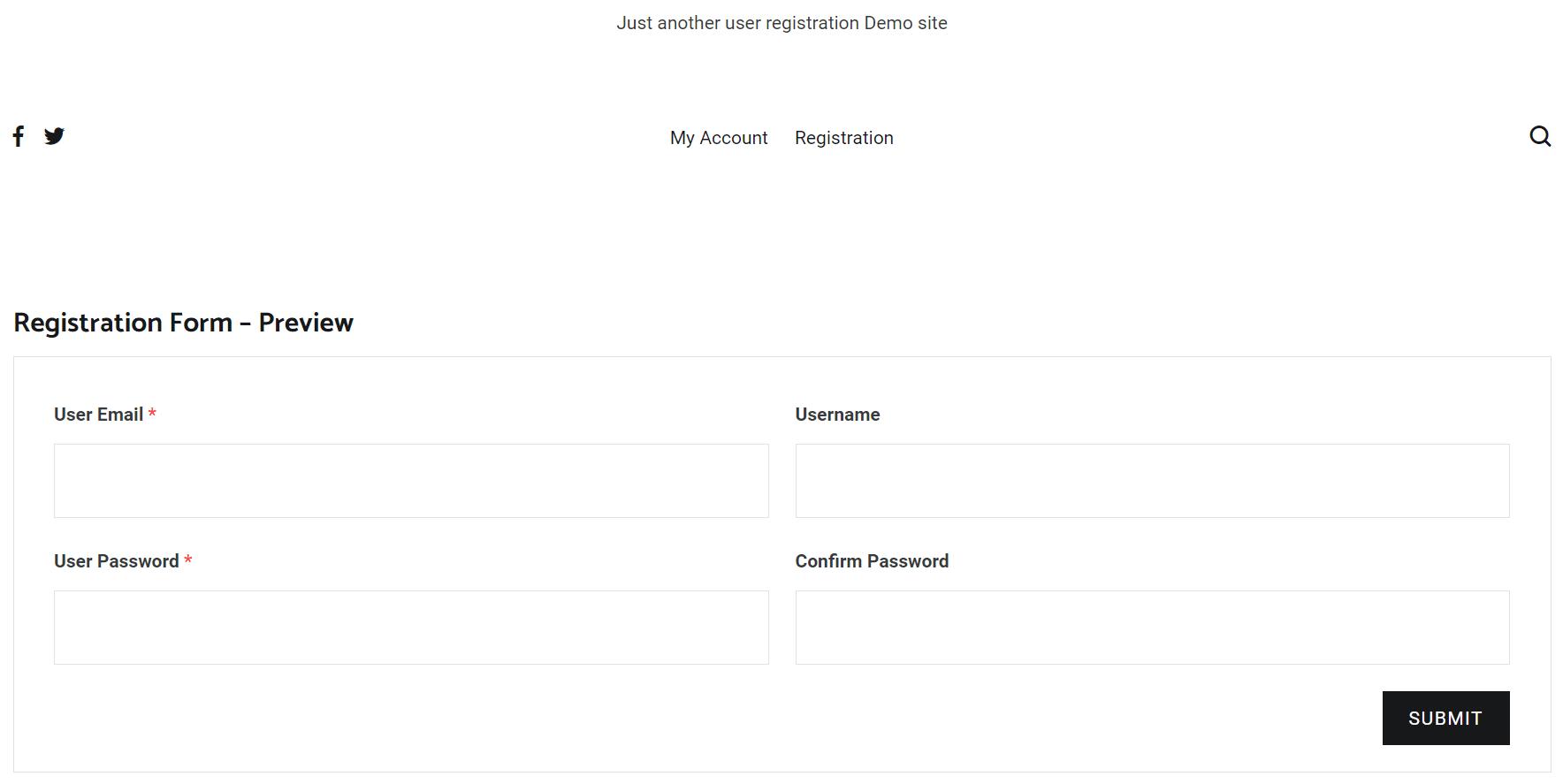 Teste do formulário de registro usando perfis sociais