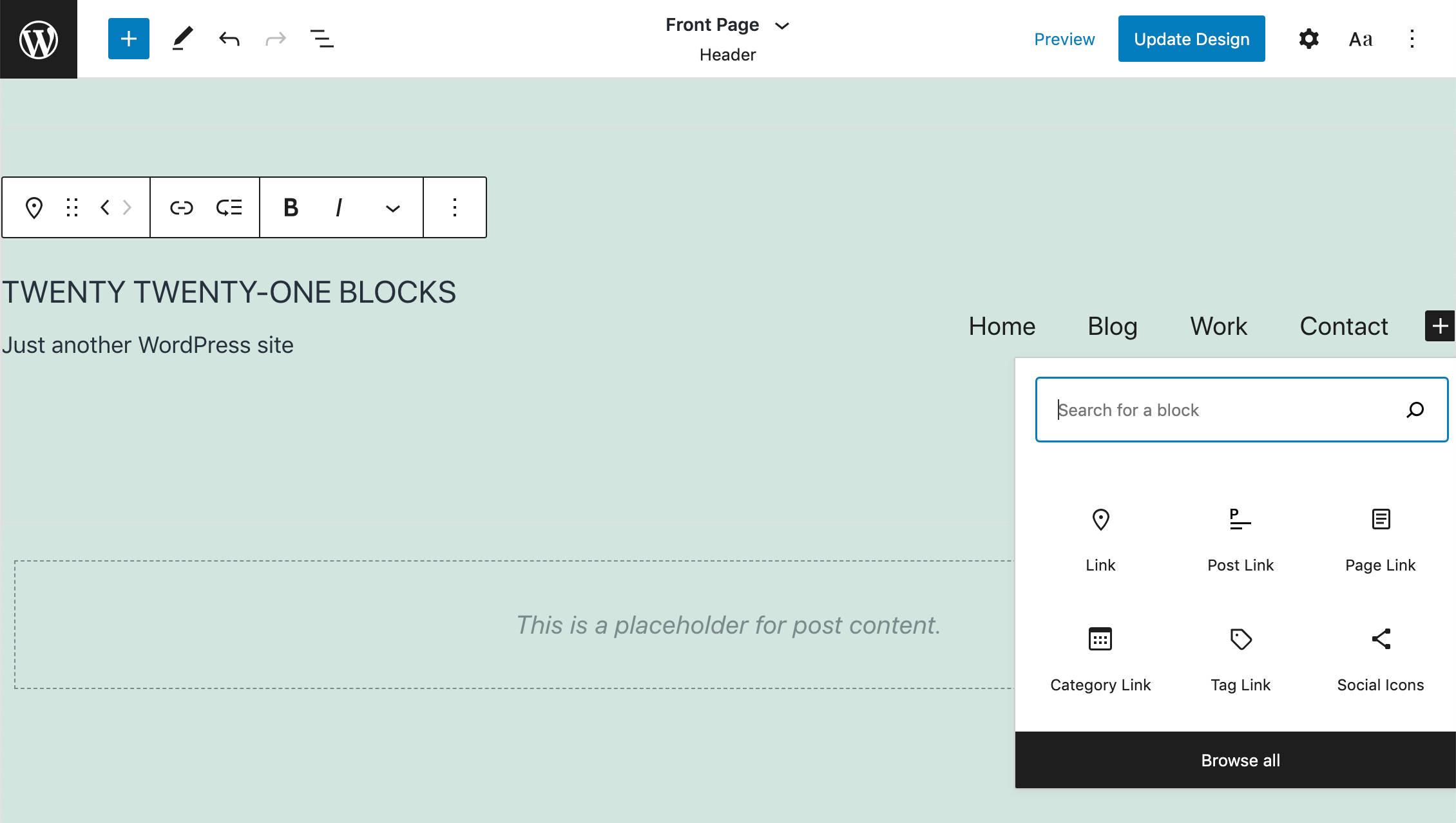 Édition complète de site dans Twenty Twenty-One Blocks