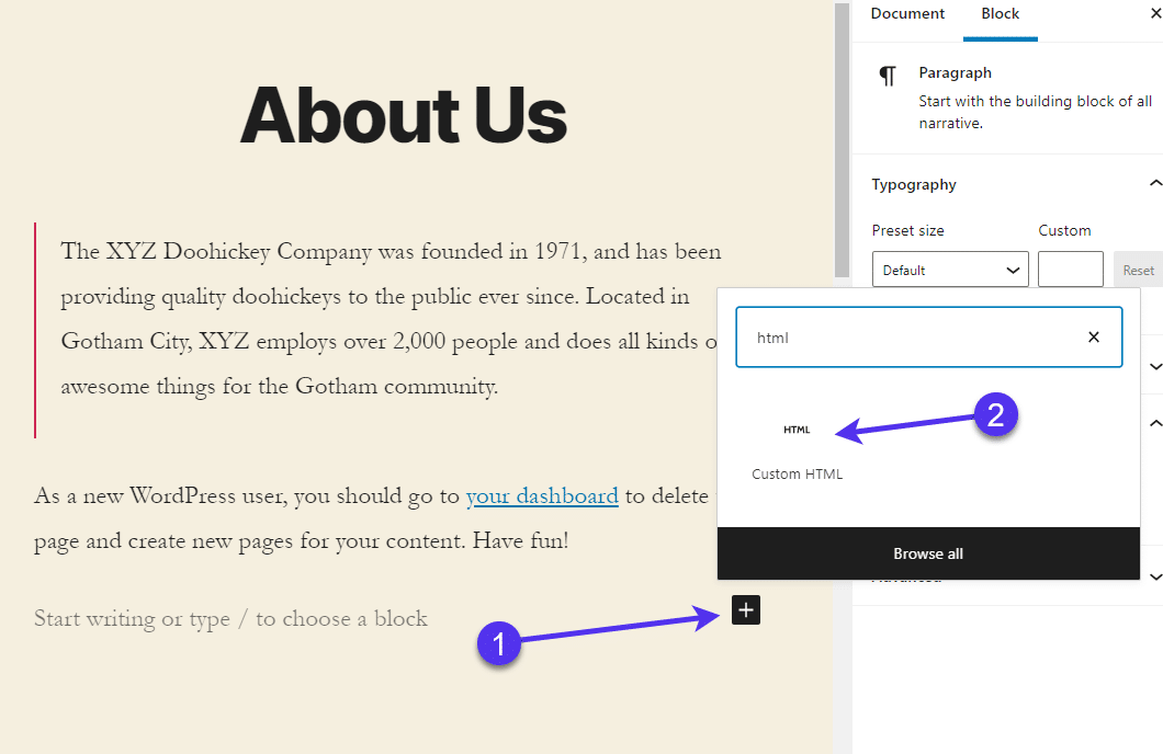 Adding a 'Custom HTML' block in Gutenberg