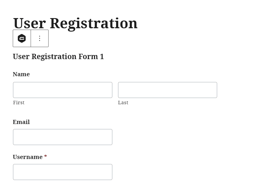 view frontend of WordPress Registration Form