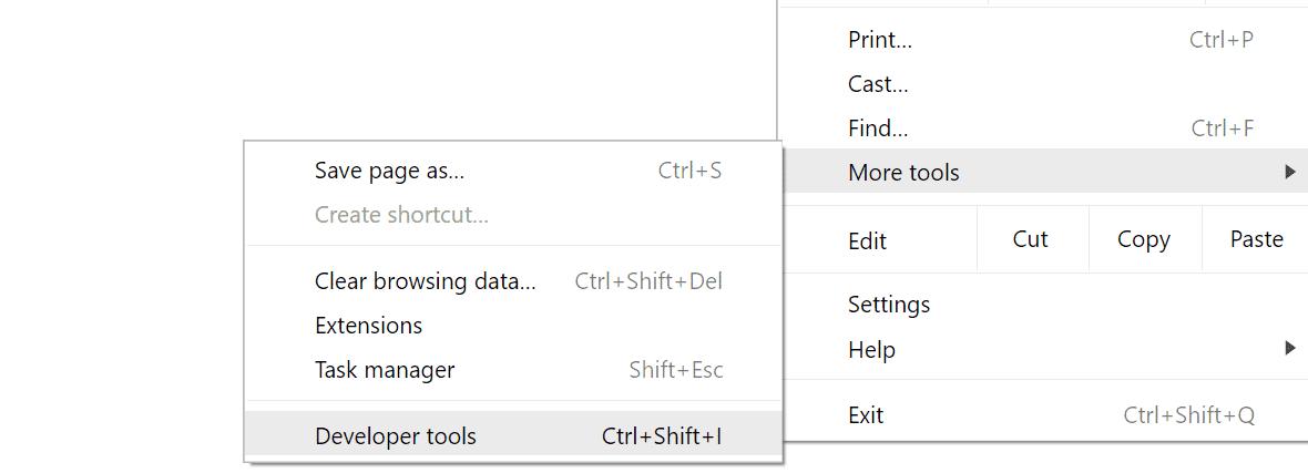 Ferramentas para desenvolvedores Chrome no menu de ferramentas do navegador