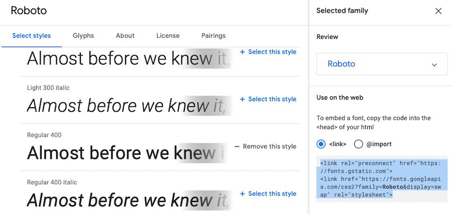 Roboto på Google Fonts