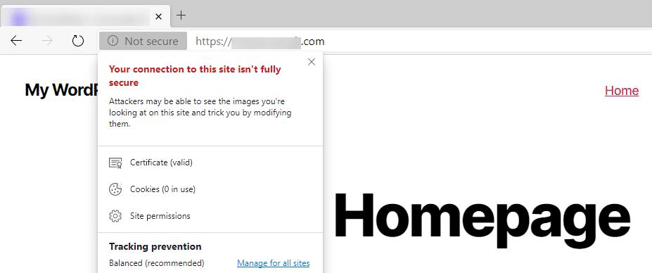Um aviso de conteúdo misto na Microsoft Edge