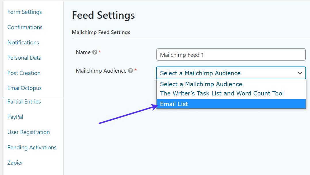 choose audience for WordPress Registration Form