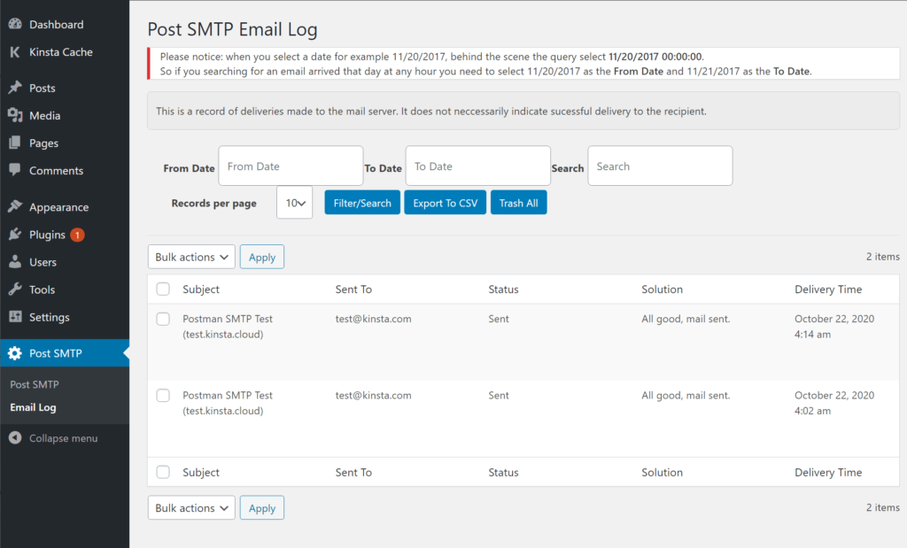 How to view a log of the emails that your site sends