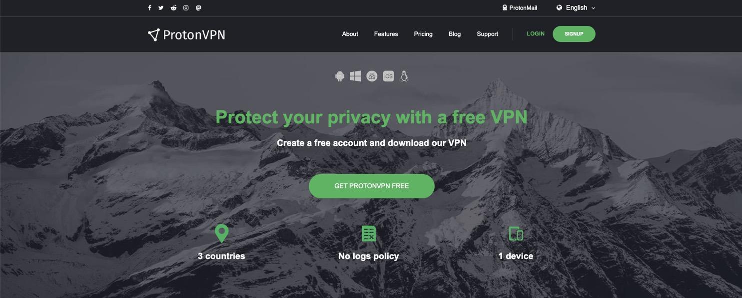 Servicio gratuito de VPN de ProtonVPN