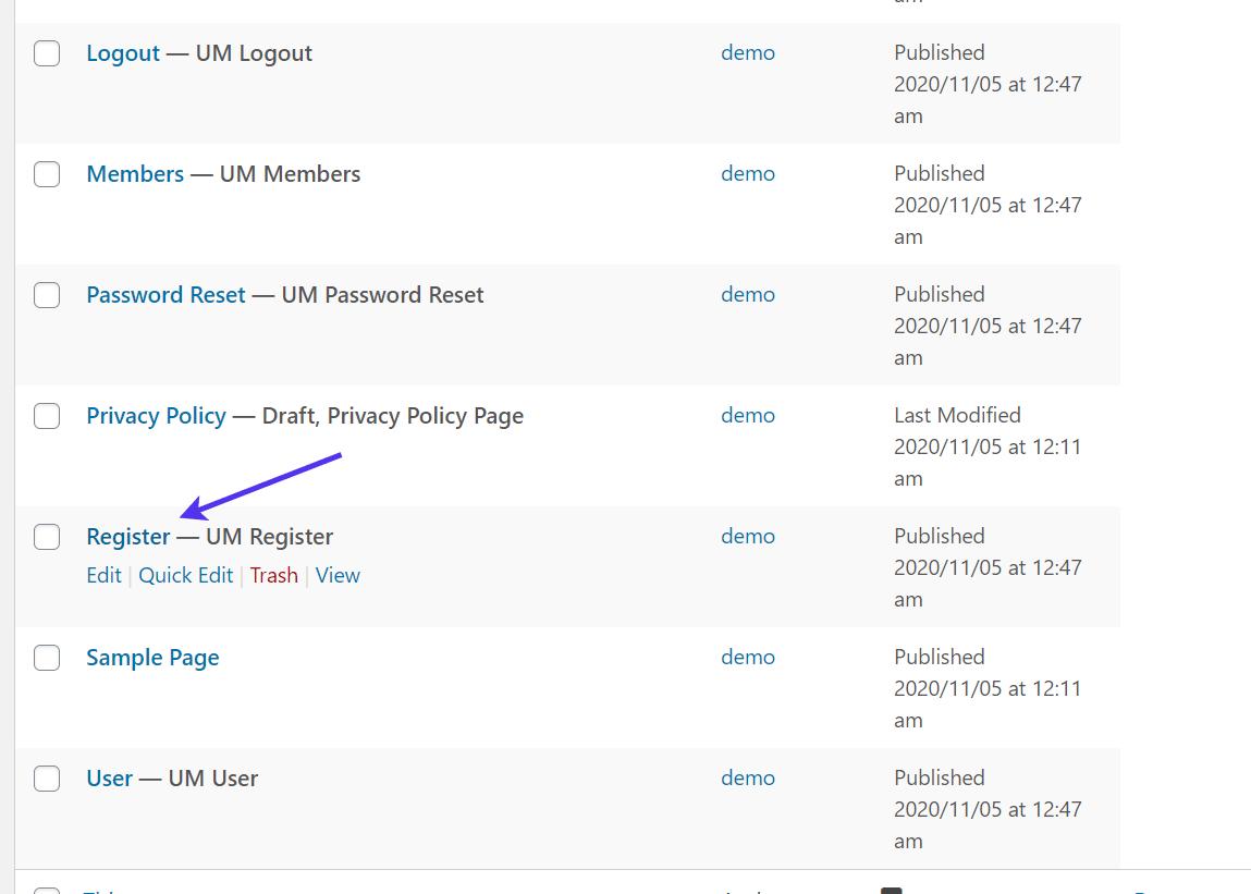 """Testando a página de """"registro"""