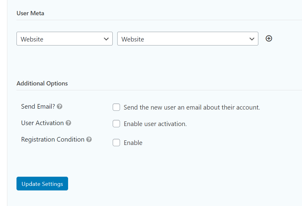 other options for WordPress Registration Form