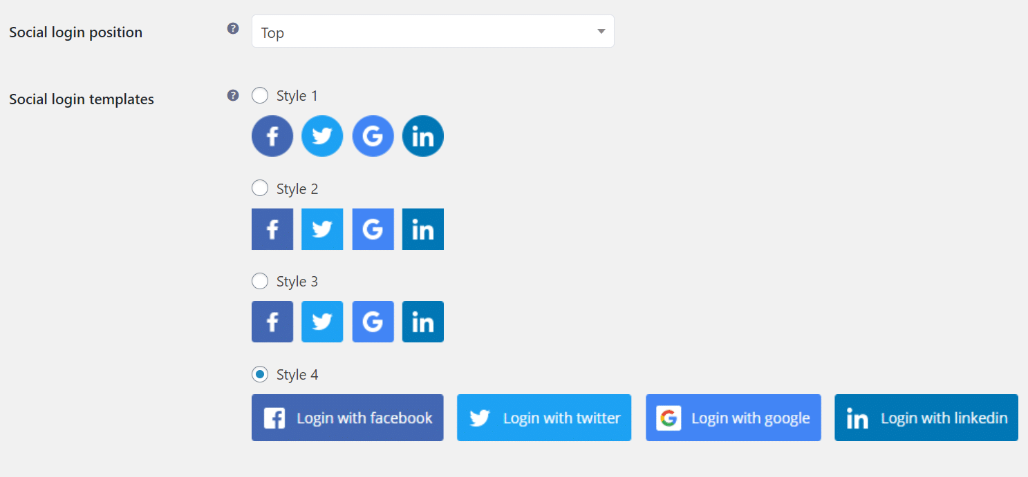 login templates for social WordPress Registration Form