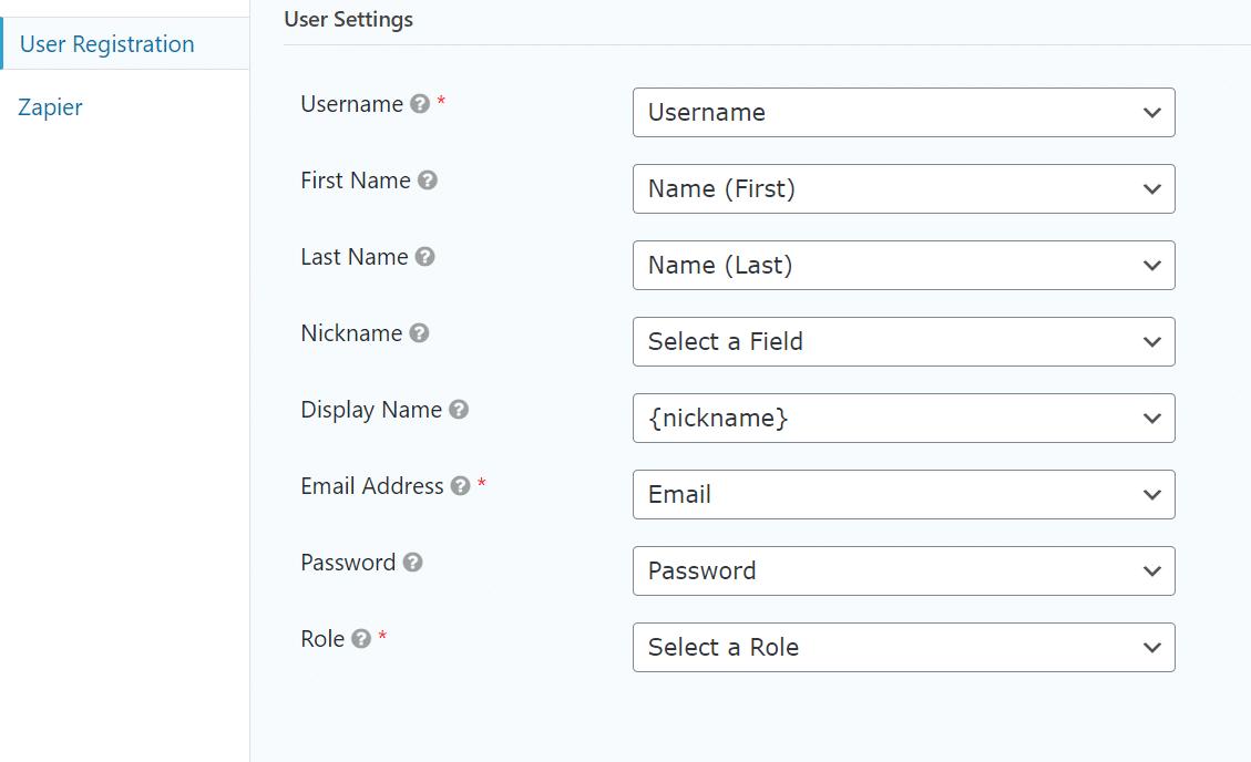 user settings for WordPress Registration Form