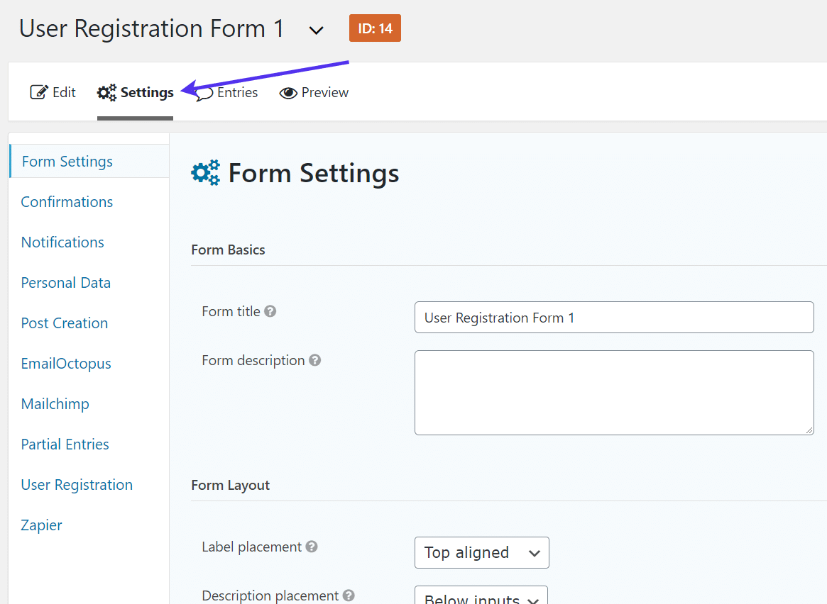 settings for WordPress Registration Form