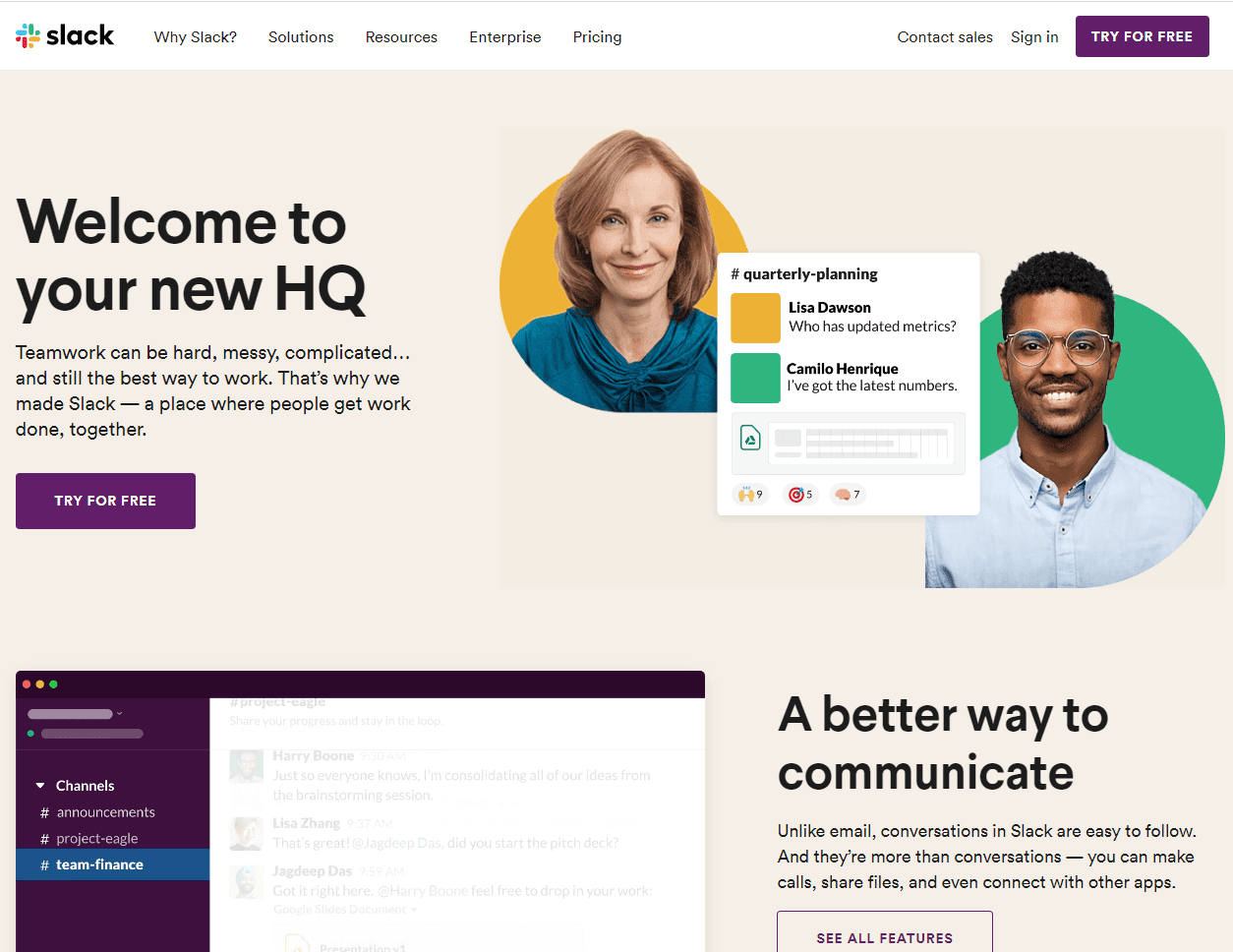 Homepage Slack
