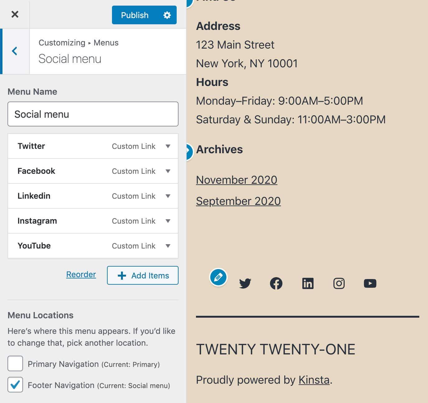 Menu social de Twenty Twenty-One