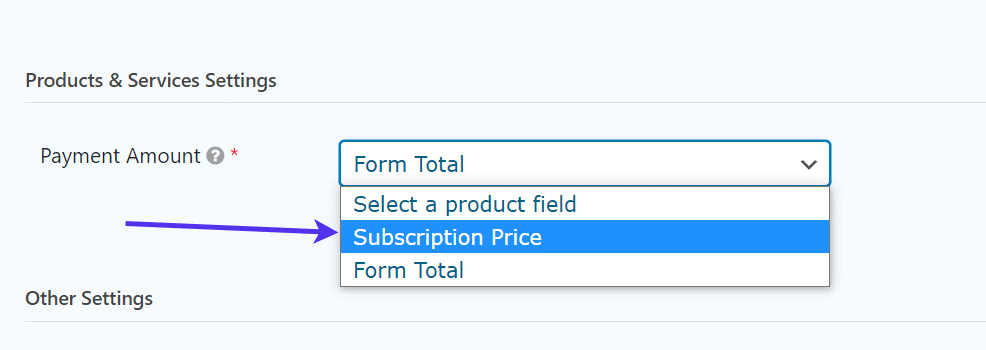 payment amount for WordPress Registration Form