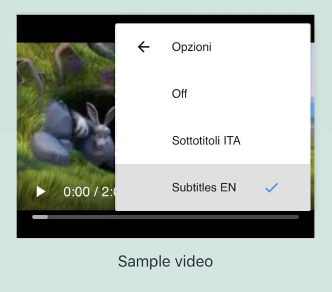 Configurações do usuário de legendas de vídeo