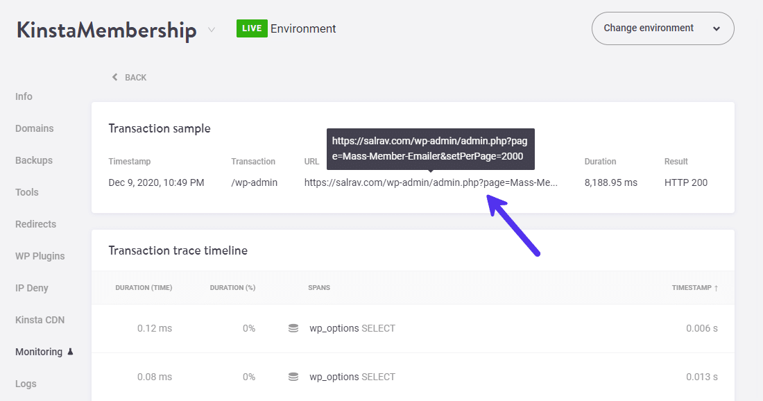 Détails de l'exemple de transaction avec l'URL exacte