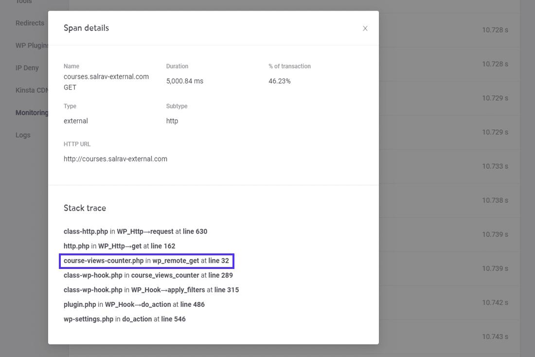 """""""Spannen Details"""" und """"Stack-Spur"""" einer Spanne"""