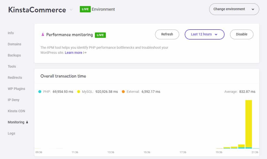 WooCommerce APM - Choosing a shorter duration in Kinsta APM