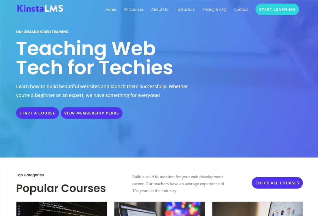 Die Test Startseite der Mitglieder-Webseite Kinsta LMS