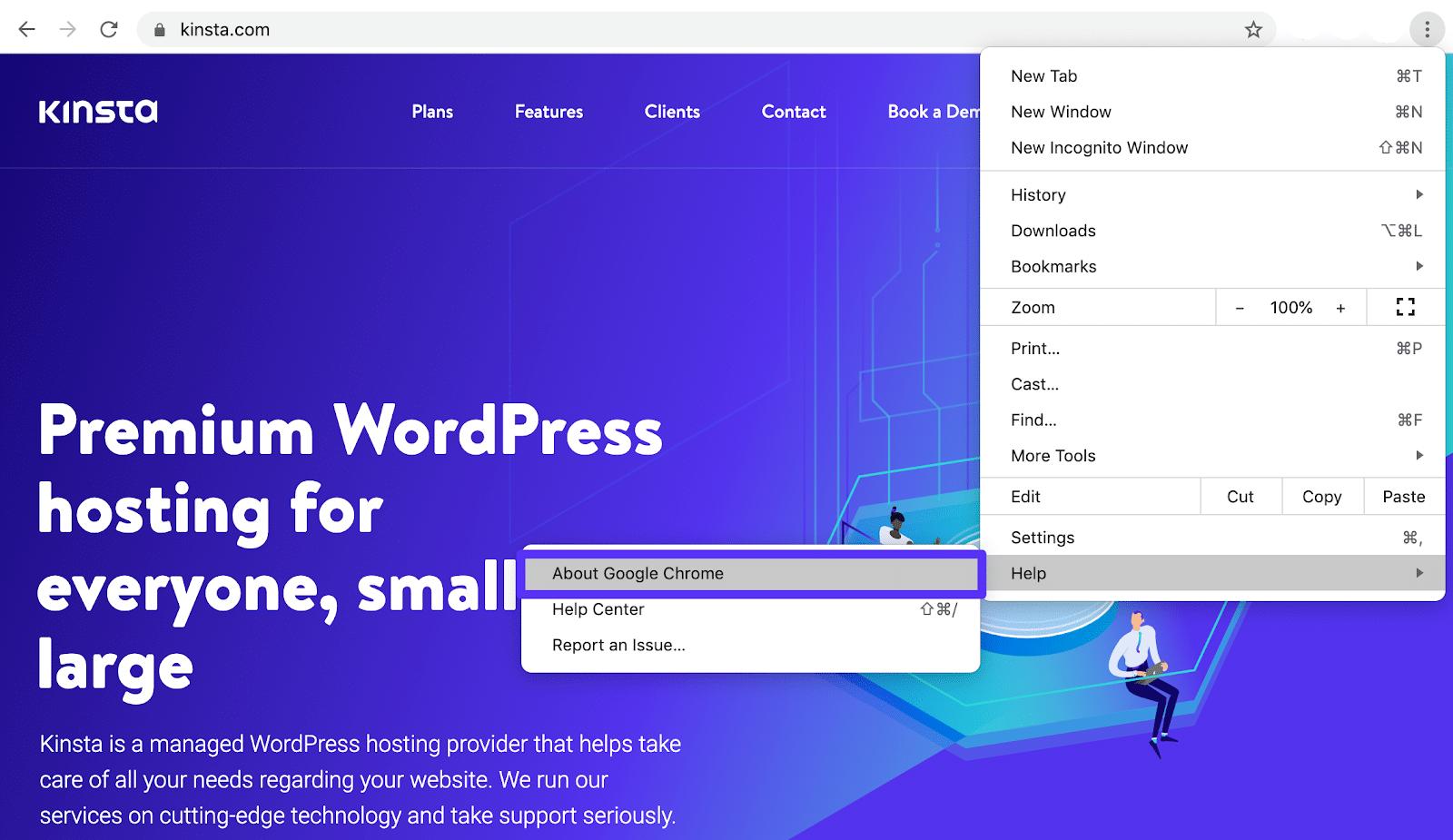 Öffnen des About-Bereichs von Google Chrome