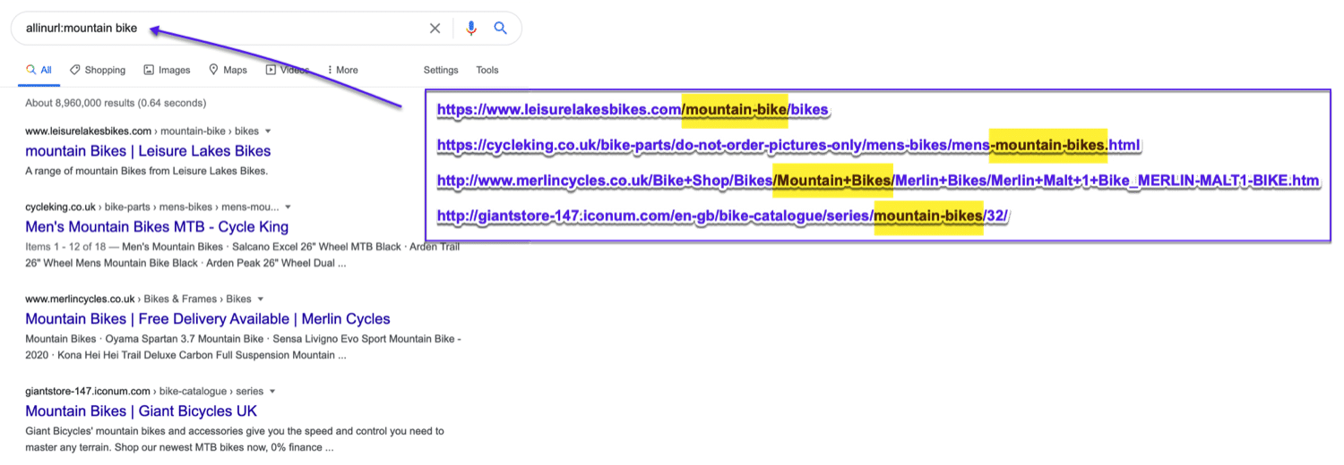 Find exact keywords inside of URLs