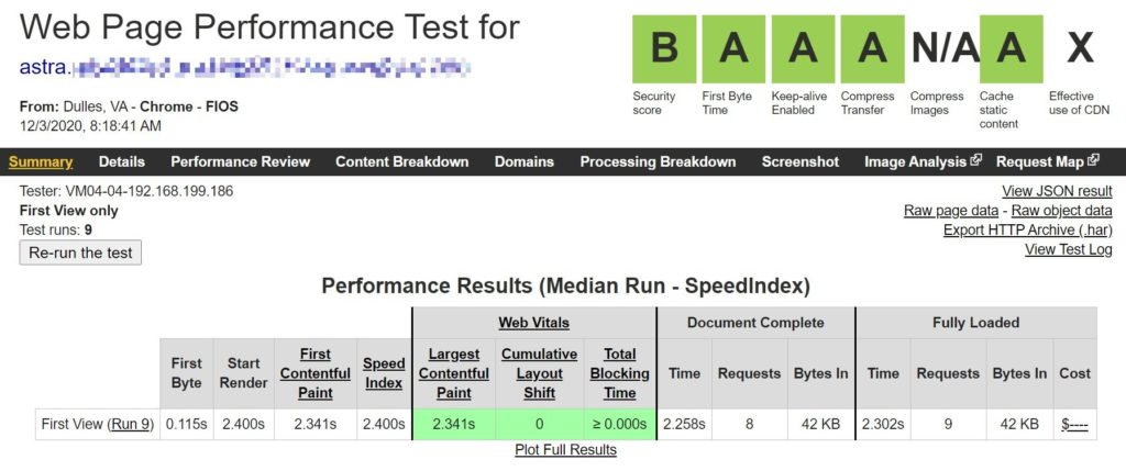 La interpretación del tema de Astra en una nueva instalación - GeneratePress vs Astra comparison
