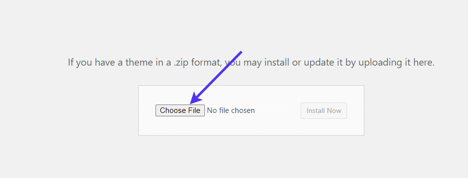 Choose the theme file to upload