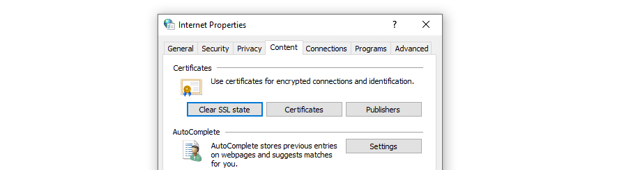 Borrado del estado SSL en Windows