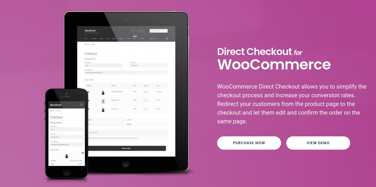 El plugin de Direct Checkout for WooCommerce