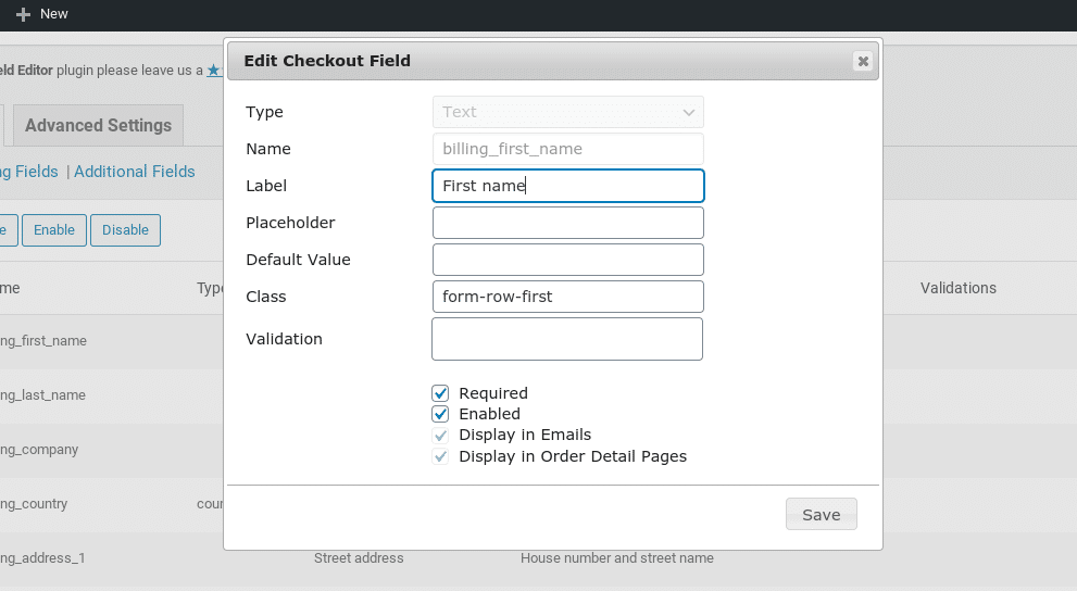 O painel de campo editar checkout no plugin WooCommerce do Checkout Editor de Campo