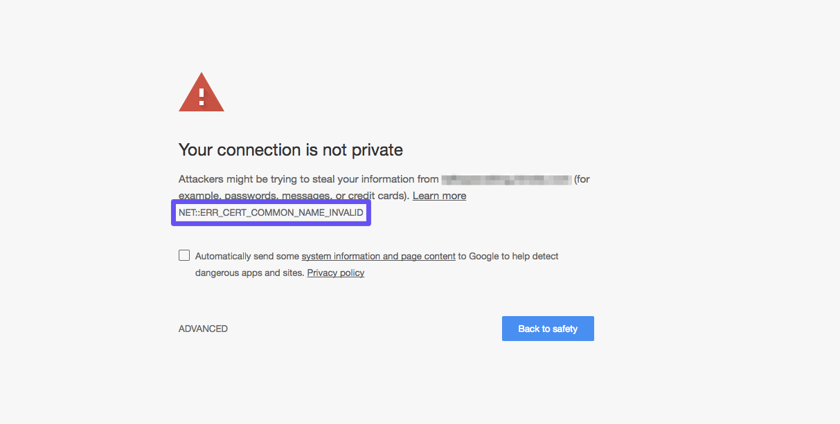 El error NET::ERR_CERT_COMMON_NAME_INVALID en Google Chrome