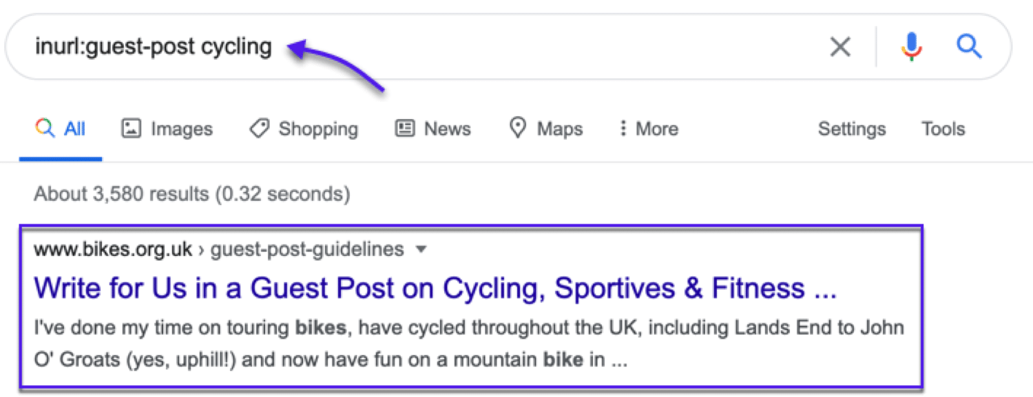 Find potential sites to publish guest posts on (in this examples, sites related to cycling)