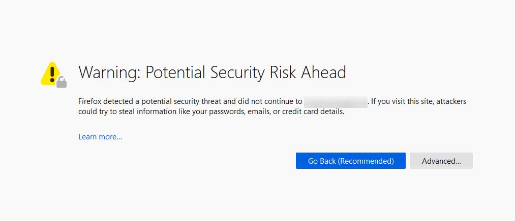 Eine Warnung vor Sicherheitsrisiken in Mozilla Firefox