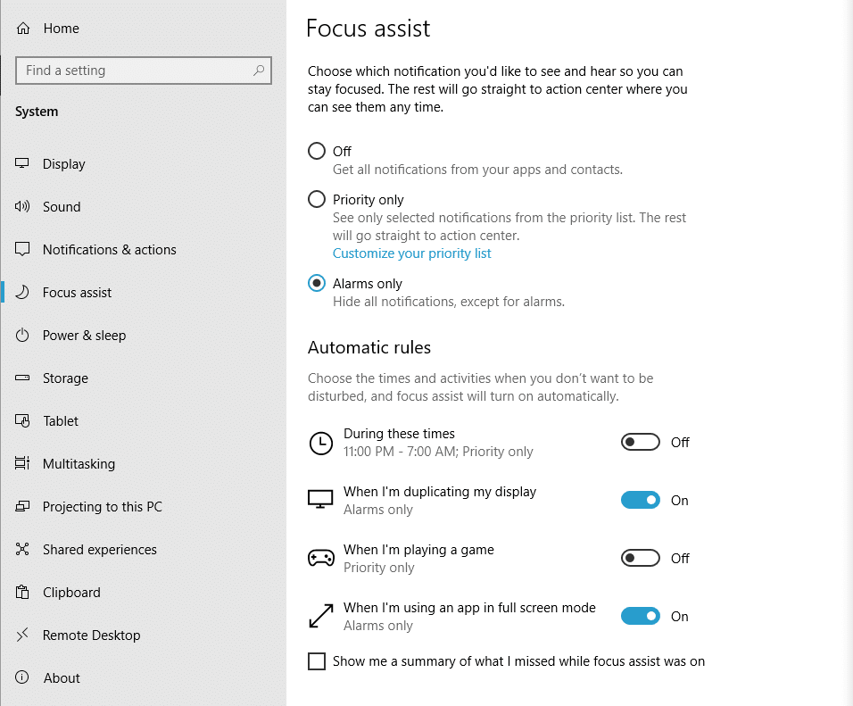 focus assist settings